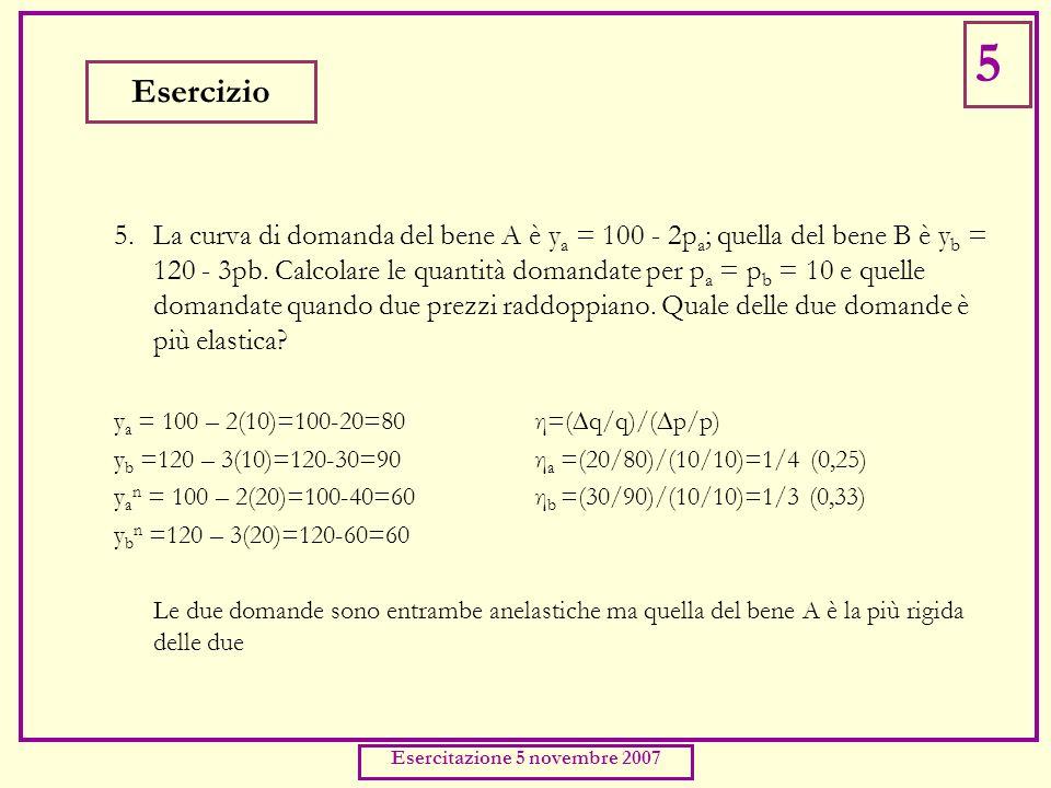 5. La curva di domanda del bene A è y a = 100 - 2p a ; quella del bene B è y b = 120 - 3pb.