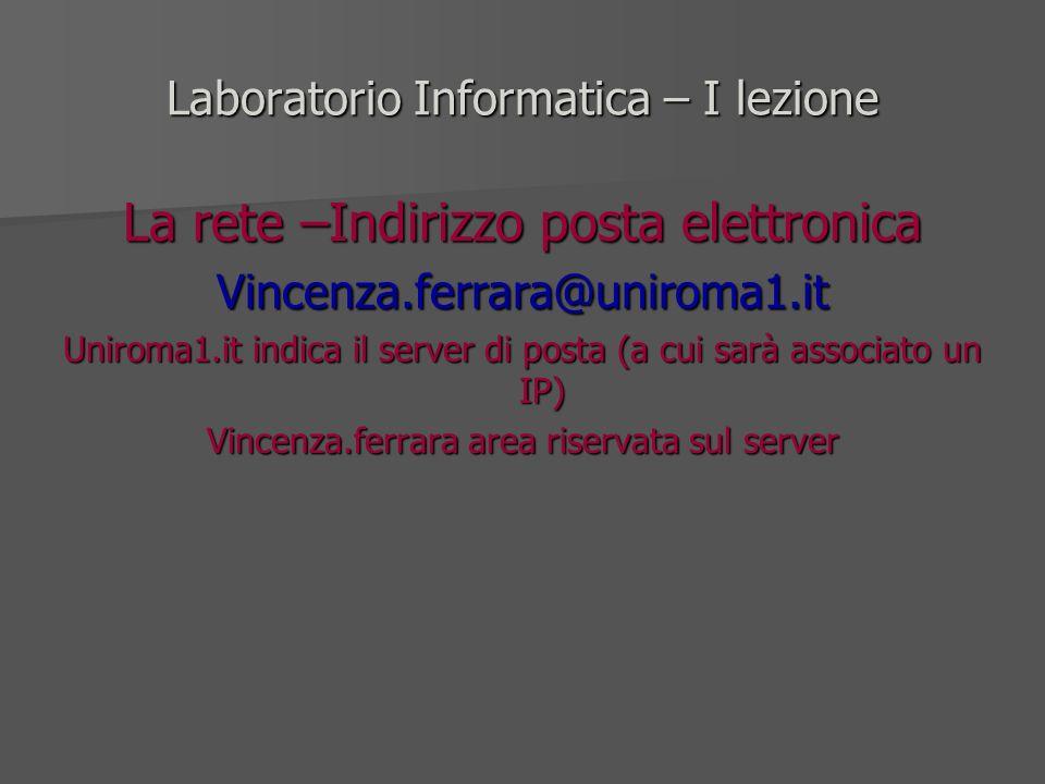 Laboratorio Informatica – I lezione La rete –Indirizzo posta elettronica Vincenza.ferrara@uniroma1.it Uniroma1.it indica il server di posta (a cui sar