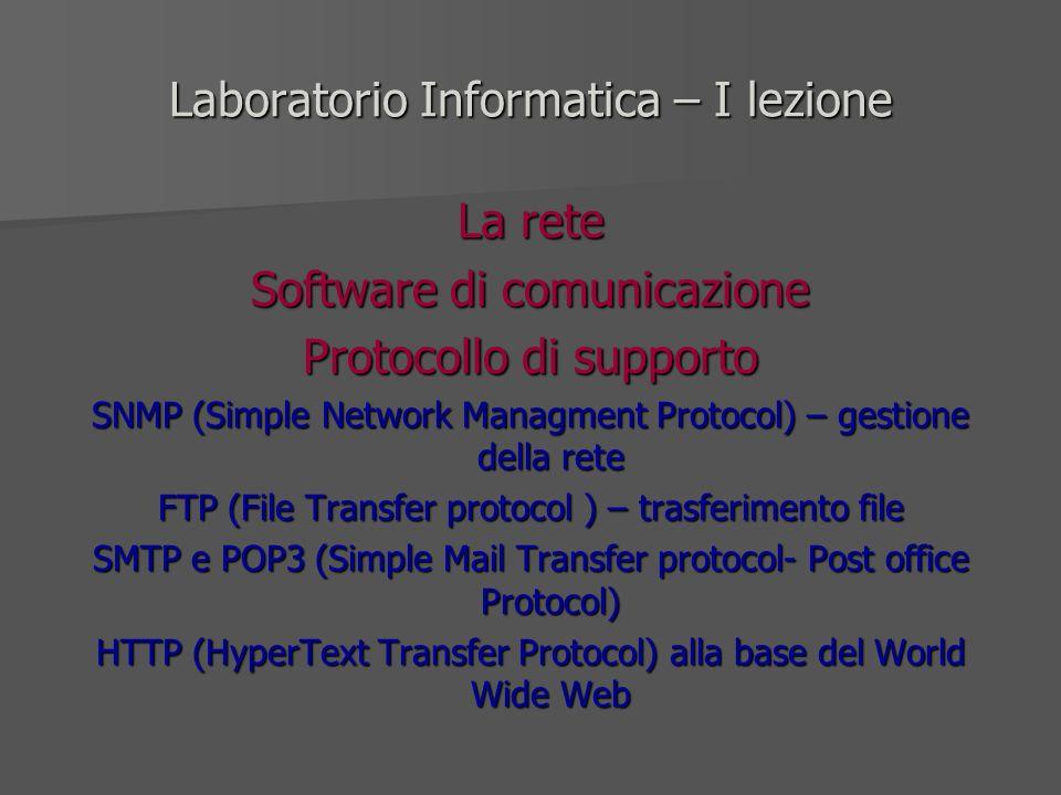 Laboratorio Informatica – I lezione La rete Software di comunicazione Protocollo di supporto SNMP (Simple Network Managment Protocol) – gestione della
