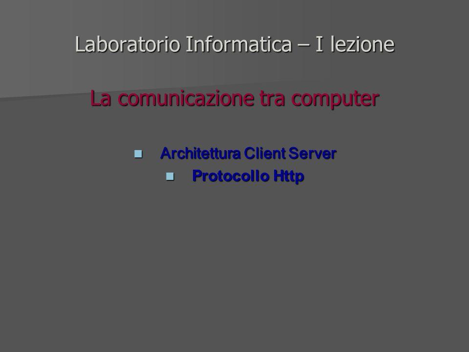Laboratorio Informatica – I lezione La comunicazione tra computer Architettura Client Server Architettura Client Server Protocollo Http Protocollo Htt