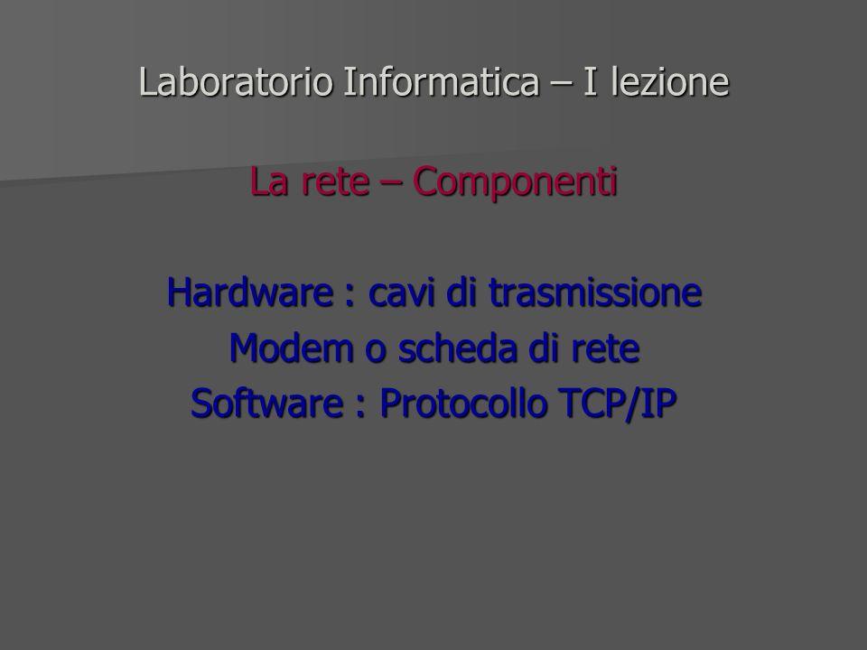 Laboratorio Informatica – I lezione La rete – Componenti Hardware : cavi di trasmissione Modem o scheda di rete Software : Protocollo TCP/IP