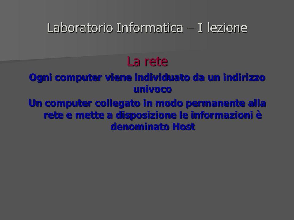 Laboratorio Informatica – I lezione La rete Ogni computer viene individuato da un indirizzo univoco Un computer collegato in modo permanente alla rete