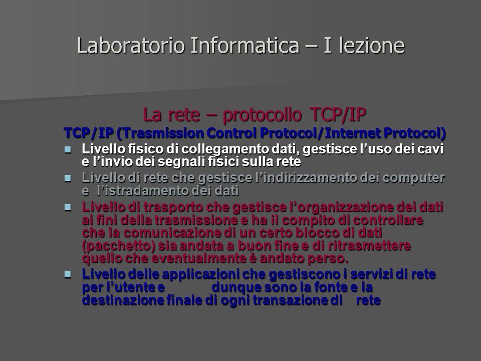 Laboratorio Informatica – I lezione La rete – protocollo TCP/IP TCP/IP (Trasmission Control Protocol/Internet Protocol) Livello fisico di collegamento