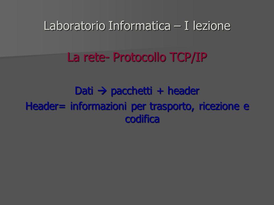 Laboratorio Informatica – I lezione La rete- Protocollo TCP/IP Dati pacchetti + header Header= informazioni per trasporto, ricezione e codifica