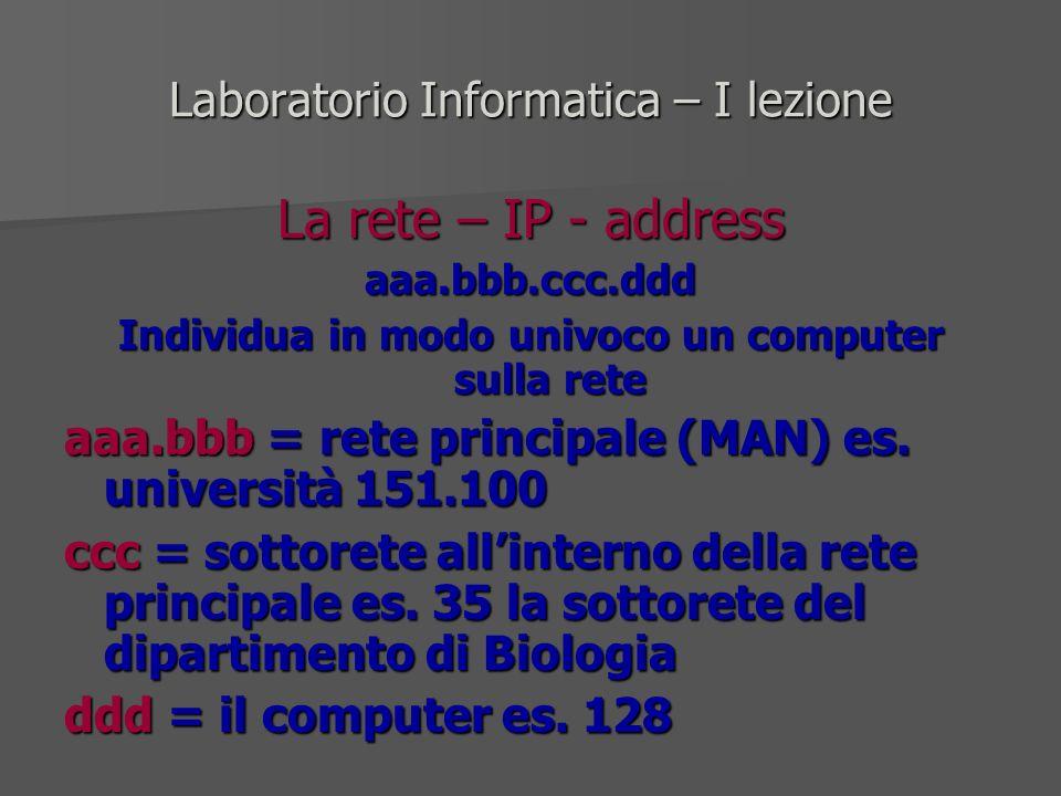 Laboratorio Informatica – I lezione La rete – IP - address aaa.bbb.ccc.ddd Individua in modo univoco un computer sulla rete aaa.bbb = rete principale