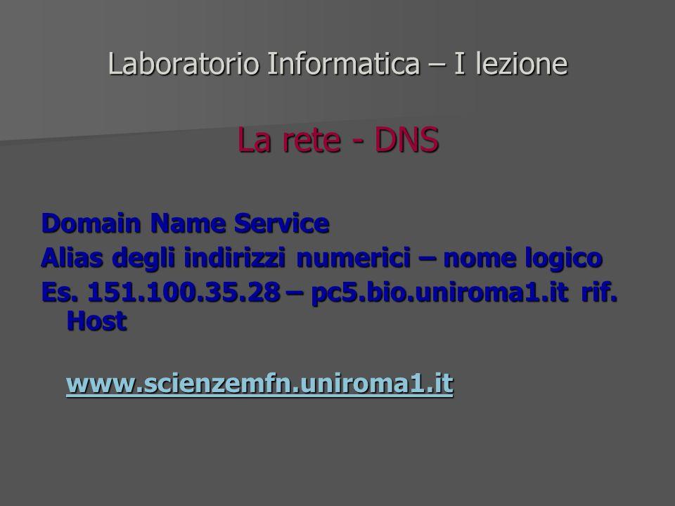 Laboratorio Informatica – I lezione La rete - DNS Domain Name Service Alias degli indirizzi numerici – nome logico Es. 151.100.35.28 – pc5.bio.uniroma