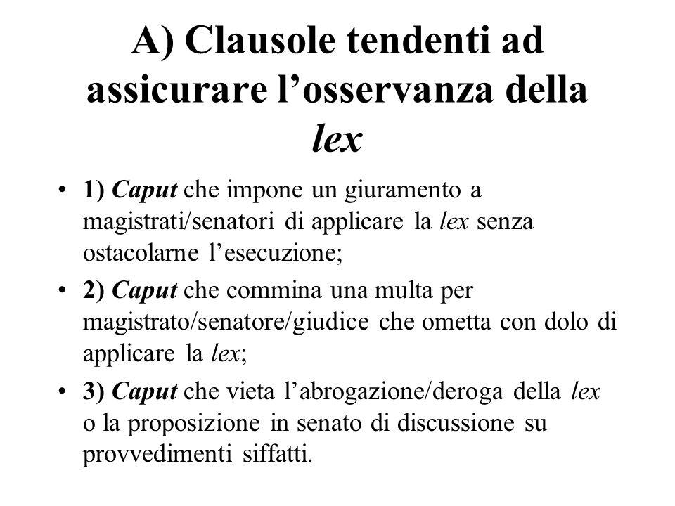 A) Clausole tendenti ad assicurare losservanza della lex 1) Caput che impone un giuramento a magistrati/senatori di applicare la lex senza ostacolarne