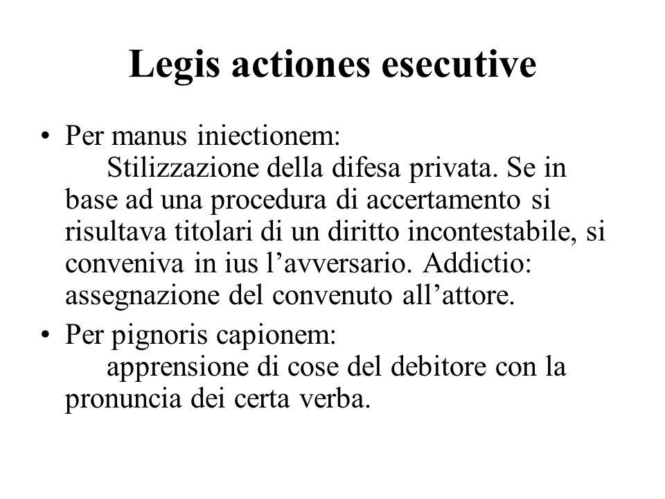 Legis actiones esecutive Per manus iniectionem: Stilizzazione della difesa privata. Se in base ad una procedura di accertamento si risultava titolari