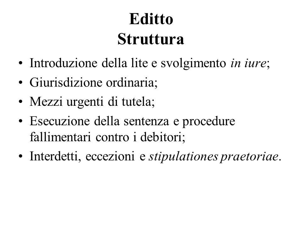 Editto Struttura Introduzione della lite e svolgimento in iure; Giurisdizione ordinaria; Mezzi urgenti di tutela; Esecuzione della sentenza e procedur