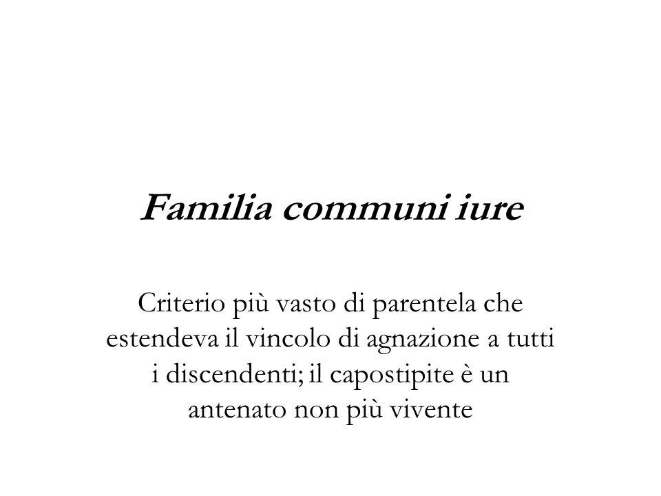 Familia communi iure Criterio più vasto di parentela che estendeva il vincolo di agnazione a tutti i discendenti; il capostipite è un antenato non più