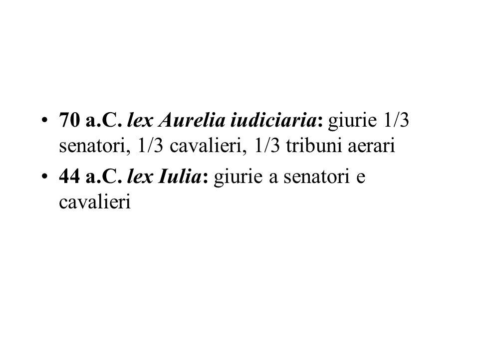 70 a.C. lex Aurelia iudiciaria: giurie 1/3 senatori, 1/3 cavalieri, 1/3 tribuni aerari 44 a.C. lex Iulia: giurie a senatori e cavalieri