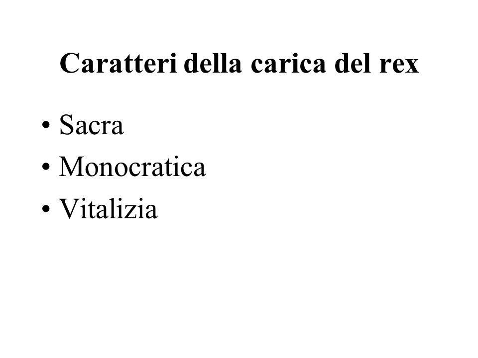 Caratteri della carica del rex Sacra Monocratica Vitalizia