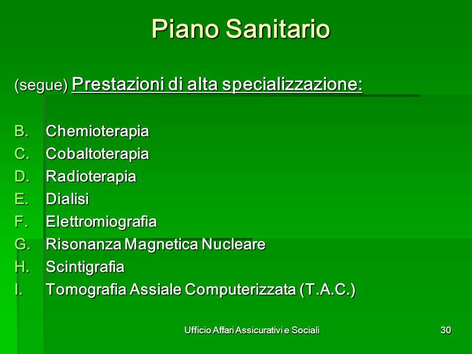 Ufficio Affari Assicurativi e Sociali30 Piano Sanitario (segue) Prestazioni di alta specializzazione: Chemioterapia Chemioterapia Cobaltoterapia Cobal