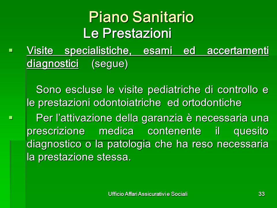 Ufficio Affari Assicurativi e Sociali33 Piano Sanitario Le Prestazioni Visite specialistiche, esami ed accertamenti diagnostici(segue) Sono escluse le