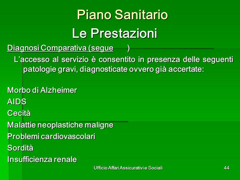 Ufficio Affari Assicurativi e Sociali44 Piano Sanitario Le Prestazioni Diagnosi Comparativa (segue) Laccesso al servizio è consentito in presenza dell