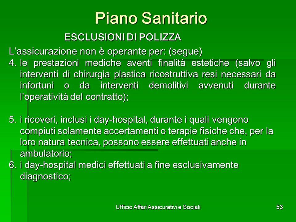 Ufficio Affari Assicurativi e Sociali53 Piano Sanitario ESCLUSIONI DI POLIZZA ESCLUSIONI DI POLIZZA Lassicurazione non è operante per: (segue) 4.le pr