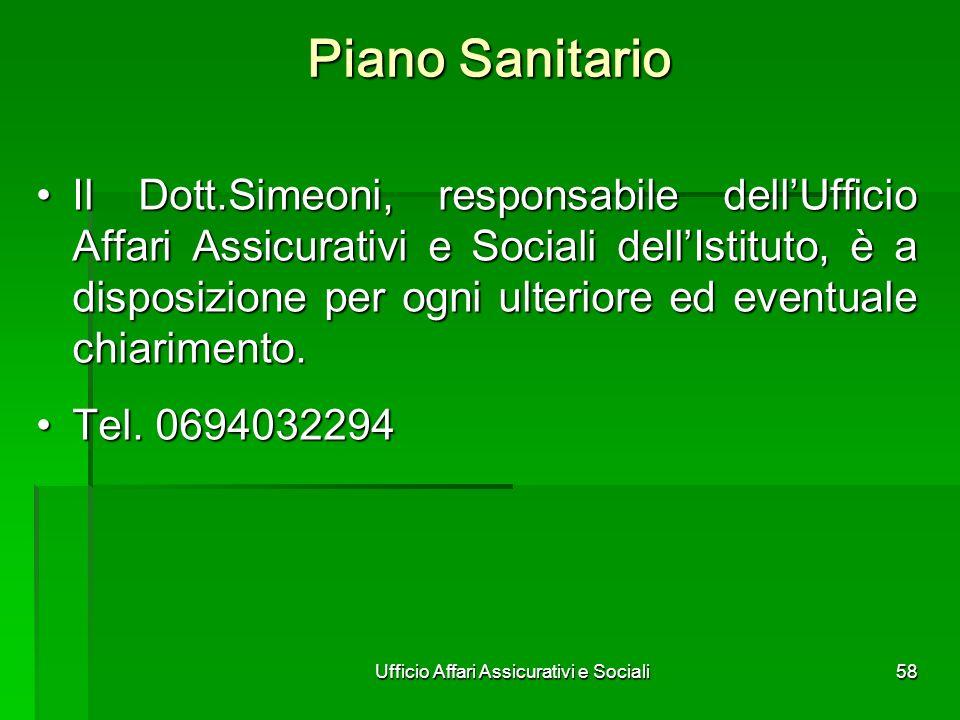 Ufficio Affari Assicurativi e Sociali58 Piano Sanitario Il Dott.Simeoni, responsabile dellUfficio Affari Assicurativi e Sociali dellIstituto, è a disp