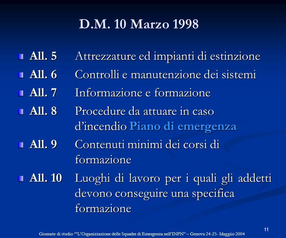 11 D.M. 10 Marzo 1998 All. 5 Attrezzature ed impianti di estinzione All. 6 Controlli e manutenzione dei sistemi All. 7 Informazione e formazione All.