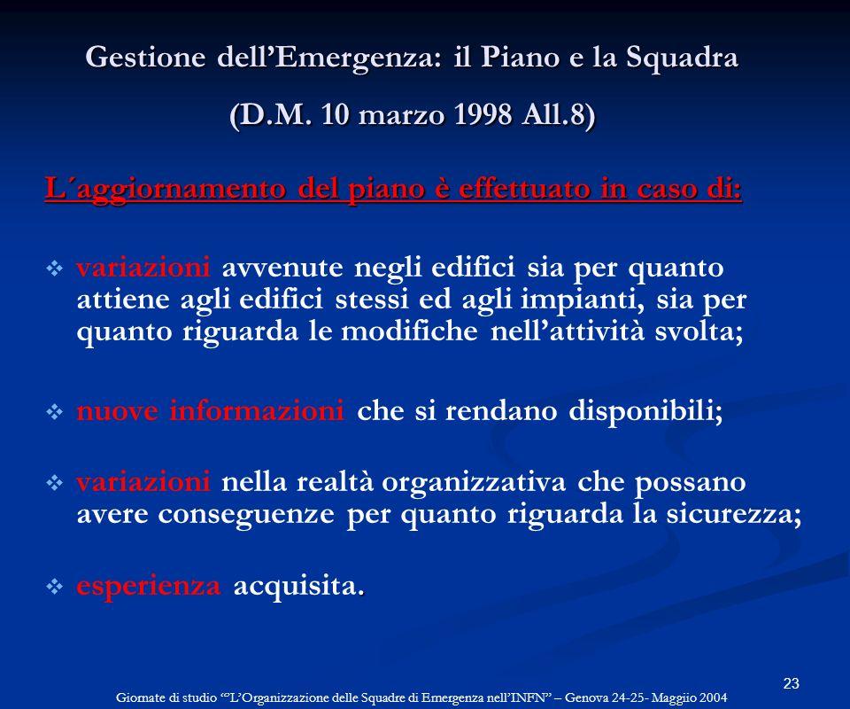 23 Gestione dellEmergenza: il Piano e la Squadra (D.M. 10 marzo 1998 All.8) L´aggiornamento del piano è effettuato in caso di: variazioni avvenute neg