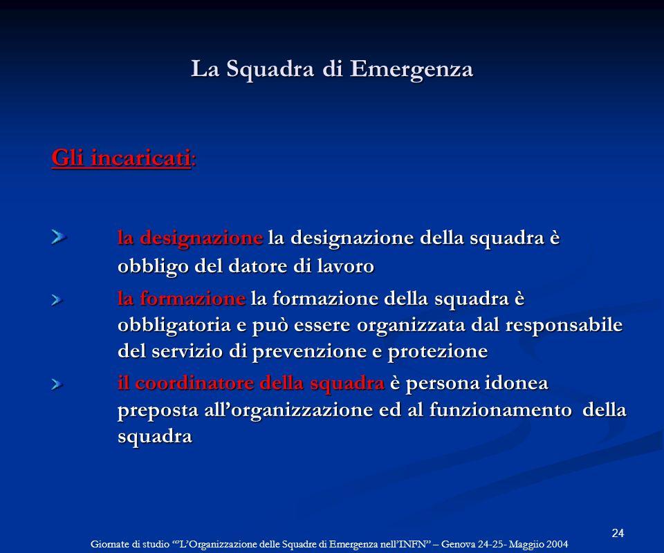 24 La Squadra di Emergenza Gli incaricati: la designazione la designazione della squadra è obbligo del datore di lavoro la formazione la formazione de