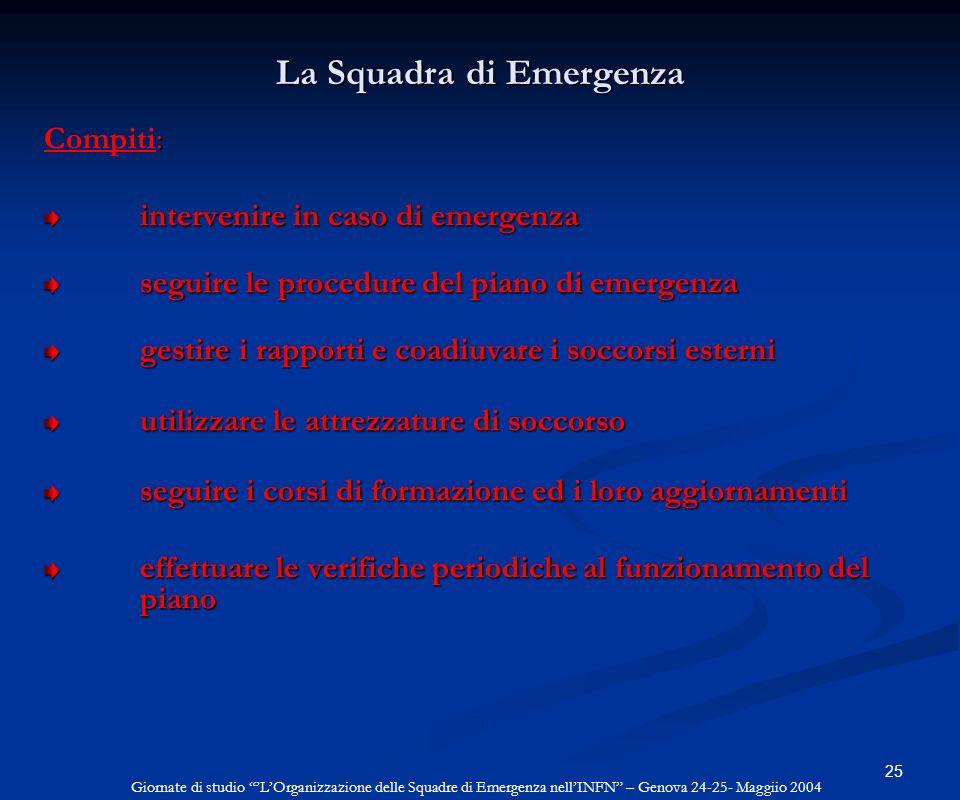 25 La Squadra di Emergenza : Compiti: intervenire in caso di emergenza seguire le procedure del piano di emergenza gestire i rapporti e coadiuvare i s