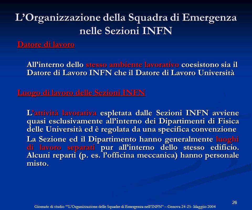 26 LOrganizzazione della Squadra di Emergenza nelle Sezioni INFN Datore di lavoro Allinterno dello stesso ambiente lavorativo coesistono sia il Datore