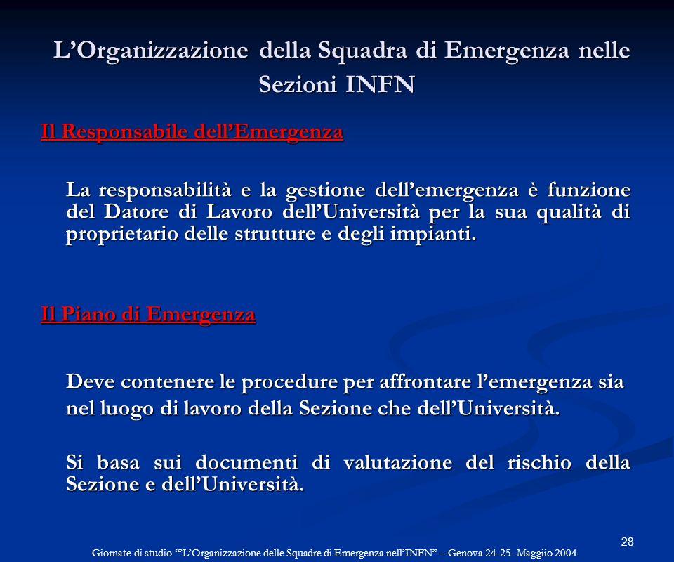 28 LOrganizzazione della Squadra di Emergenza nelle Sezioni INFN LOrganizzazione della Squadra di Emergenza nelle Sezioni INFN Il Responsabile dellEme