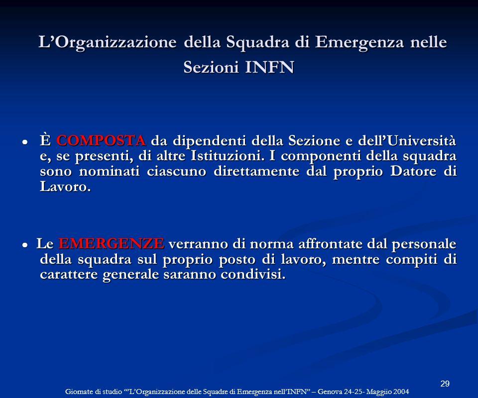 29 LOrganizzazione della Squadra di Emergenza nelle Sezioni INFN LOrganizzazione della Squadra di Emergenza nelle Sezioni INFN È COMPOSTA da dipendent