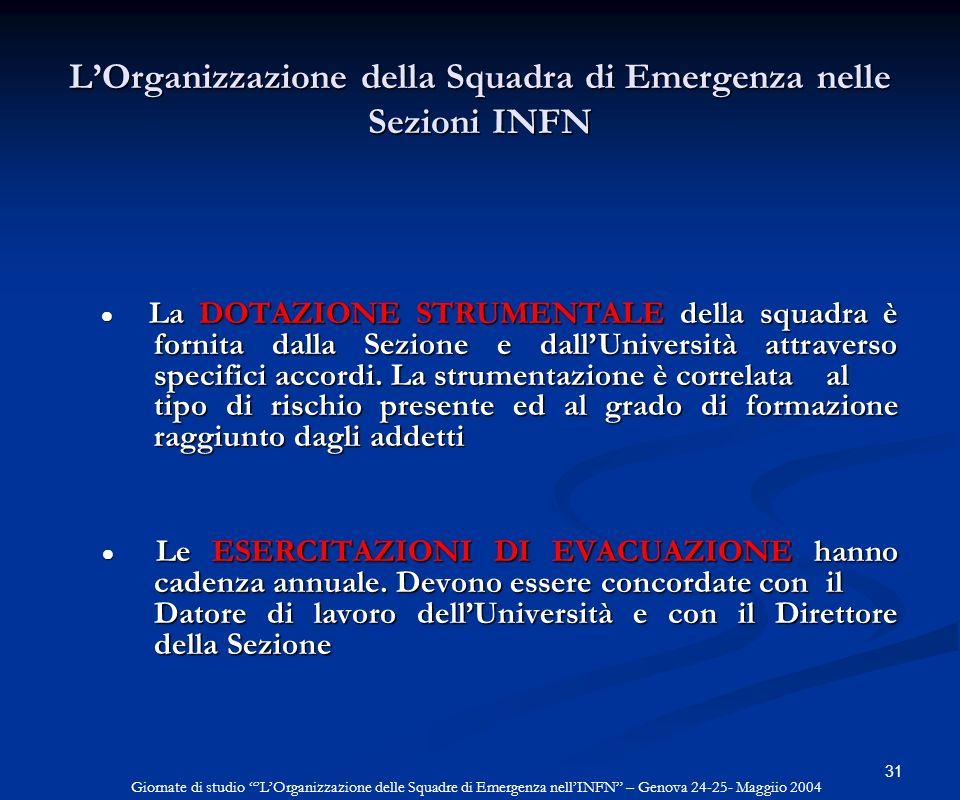 31 LOrganizzazione della Squadra di Emergenza nelle Sezioni INFN La DOTAZIONE STRUMENTALE della squadra è fornita dalla Sezione e dallUniversità attra