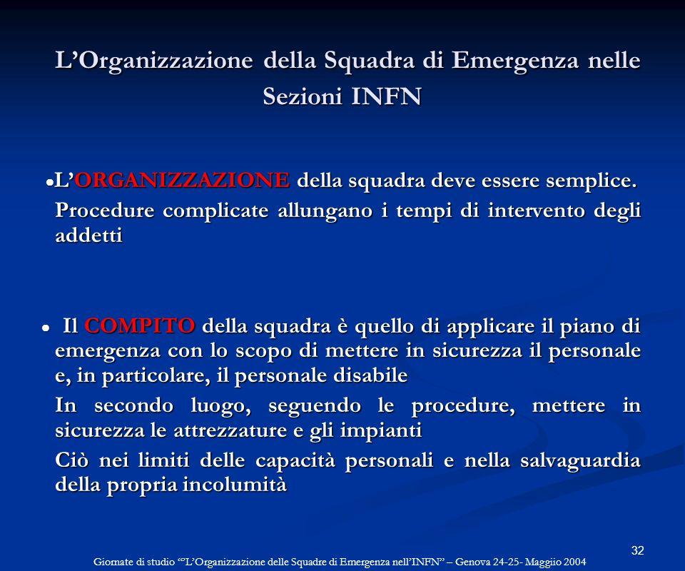 32 LOrganizzazione della Squadra di Emergenza nelle Sezioni INFN LOrganizzazione della Squadra di Emergenza nelle Sezioni INFN LORGANIZZAZIONE della s