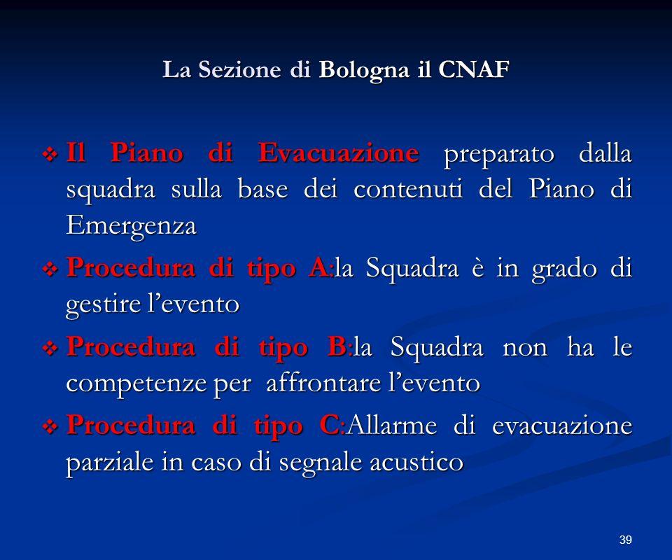 39 La Sezione di Bologna il CNAF Il Piano di Evacuazione preparato dalla squadra sulla base dei contenuti del Piano di Emergenza Il Piano di Evacuazio