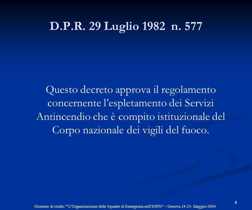 4 D.P.R. 29 Luglio 1982 n. 577 Questo decreto approva il regolamento concernente lespletamento dei Servizi Antincendio che è compito istituzionale del