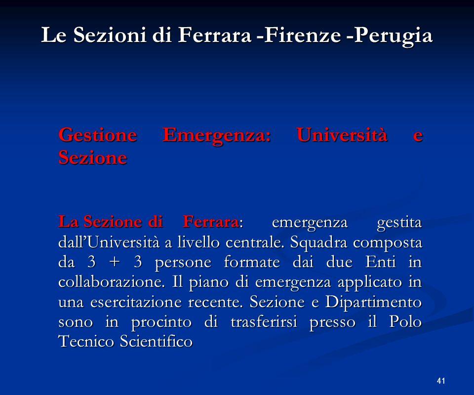 41 Le Sezioni di Ferrara -Firenze -Perugia Gestione Emergenza: Università e Sezione La Sezione diFerrara: emergenza gestita dallUniversità a livello c