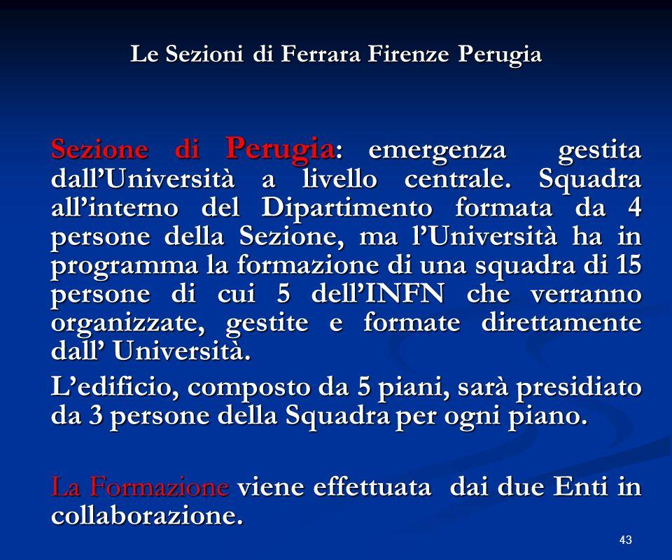 43 Le Sezioni di Ferrara Firenze Perugia Le Sezioni di Ferrara Firenze Perugia Sezione di Perugia : emergenza gestita dallUniversità a livello central