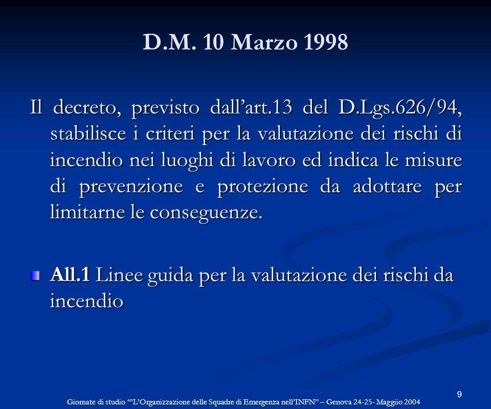 9 D.M. 10 Marzo 1998 Il decreto, previsto dallart.13 del D.Lgs.626/94, stabilisce i criteri per la valutazione dei rischi di incendio nei luoghi di la