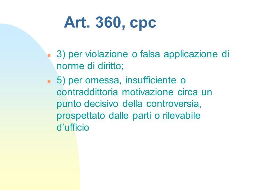 Art. 360, cpc n 3) per violazione o falsa applicazione di norme di diritto; n 5) per omessa, insufficiente o contraddittoria motivazione circa un punt