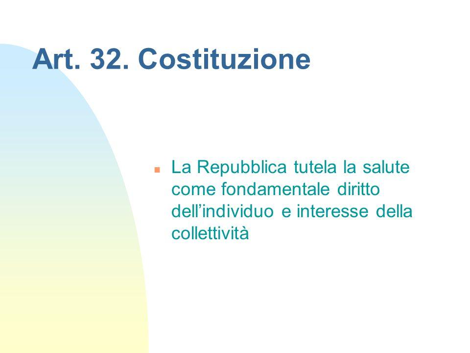 Art. 32. Costituzione n La Repubblica tutela la salute come fondamentale diritto dellindividuo e interesse della collettività