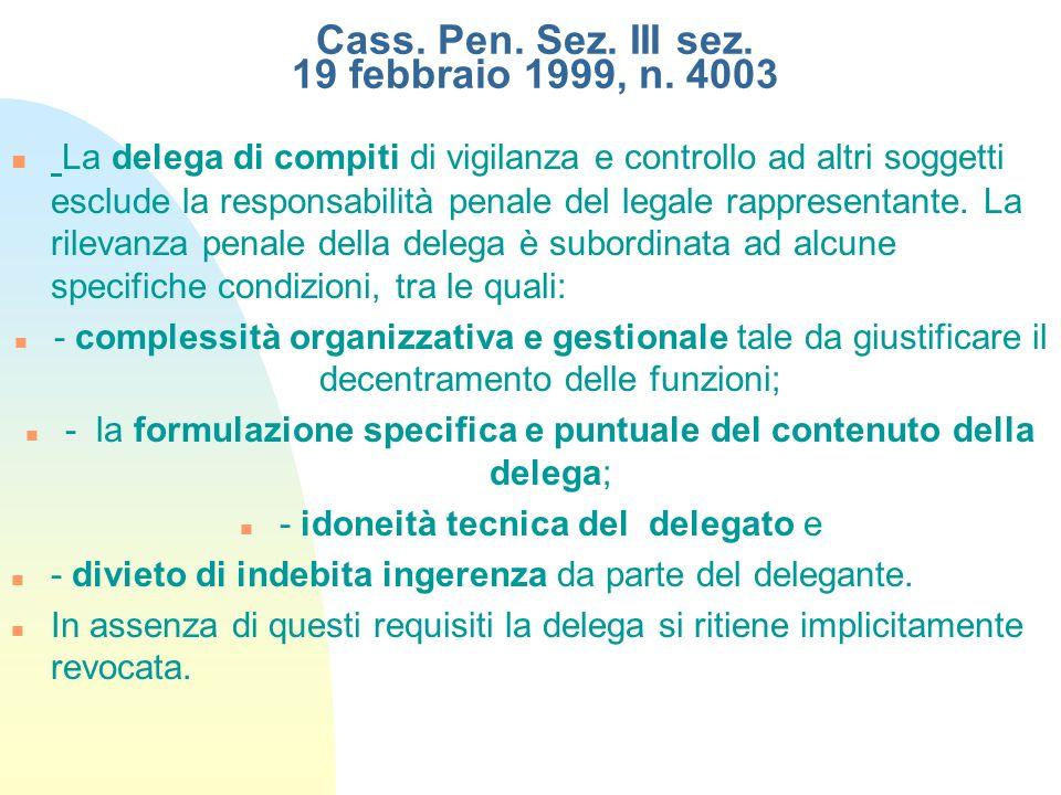 Cass. Pen. Sez. III sez. 19 febbraio 1999, n. 4003 La delega di compiti di vigilanza e controllo ad altri soggetti esclude la responsabilità penale de