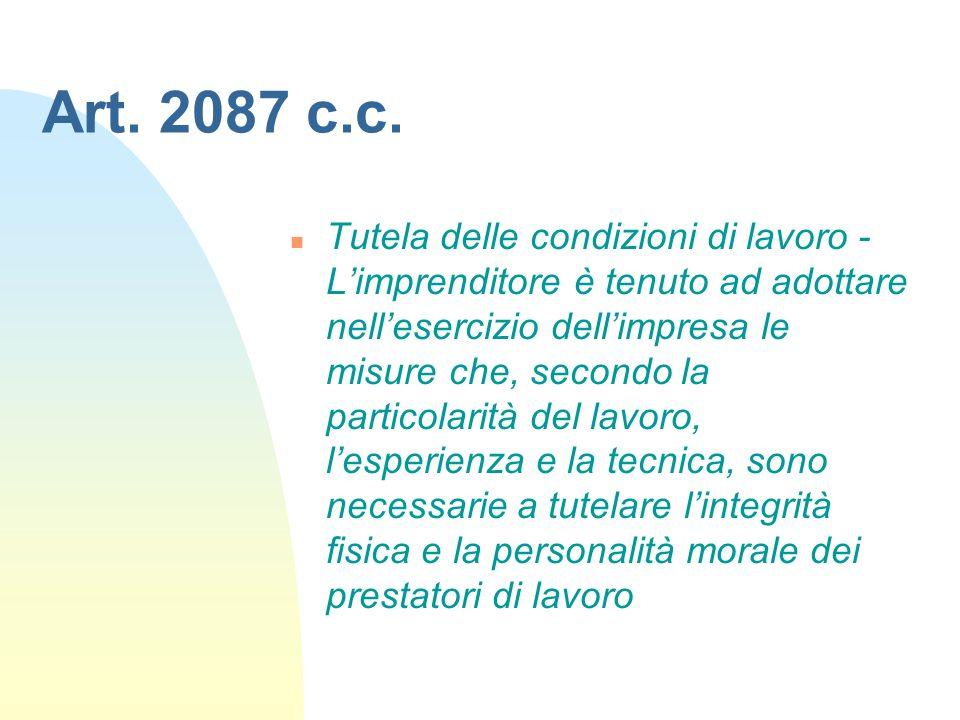 Art. 2087 c.c. n Tutela delle condizioni di lavoro - Limprenditore è tenuto ad adottare nellesercizio dellimpresa le misure che, secondo la particolar