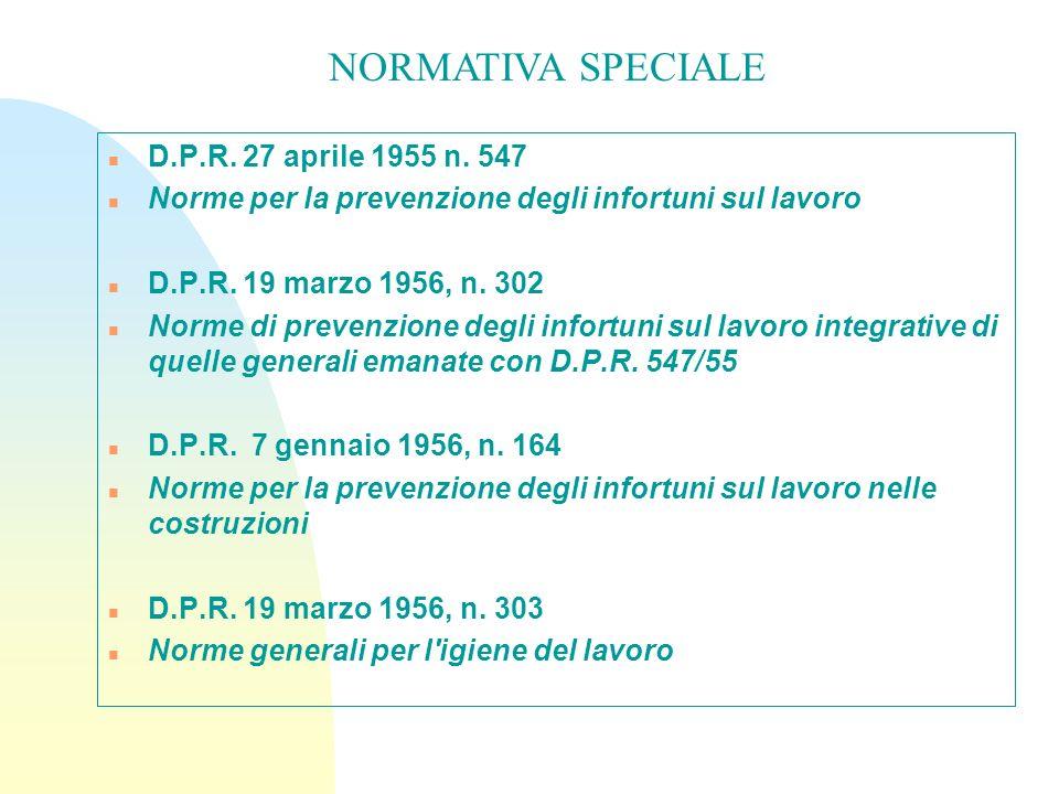 n D.P.R. 27 aprile 1955 n. 547 n Norme per la prevenzione degli infortuni sul lavoro n D.P.R. 19 marzo 1956, n. 302 n Norme di prevenzione degli infor