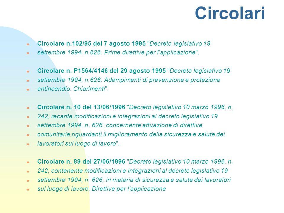 Circolari n Circolare n.102/95 del 7 agosto 1995