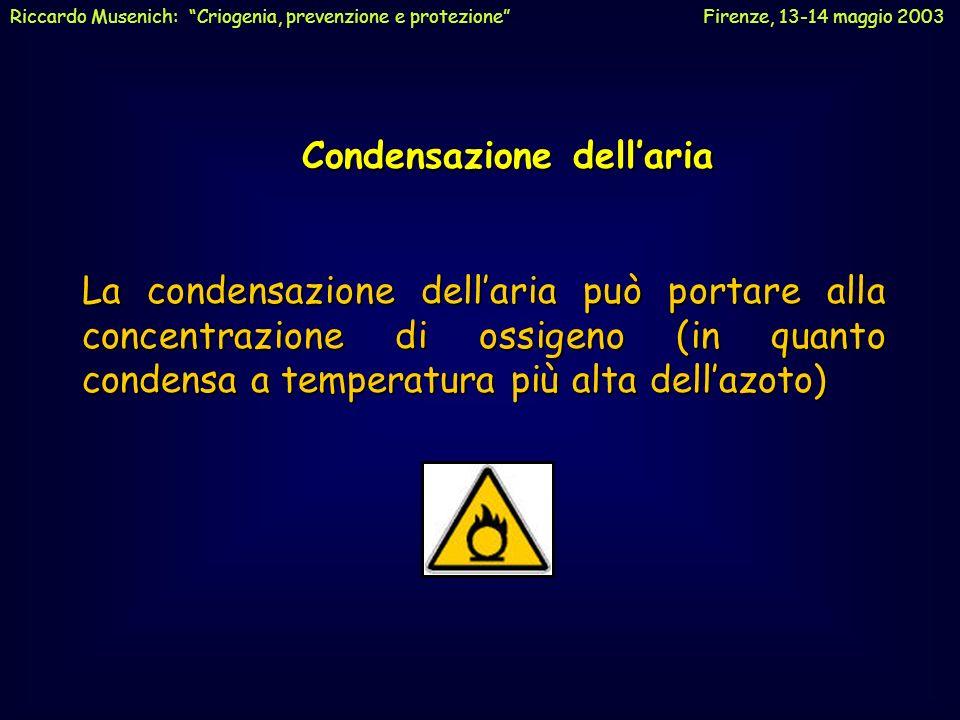 Condensazione dellaria Condensazione dellaria La condensazione dellaria può portare alla concentrazione di ossigeno (in quanto condensa a temperatura