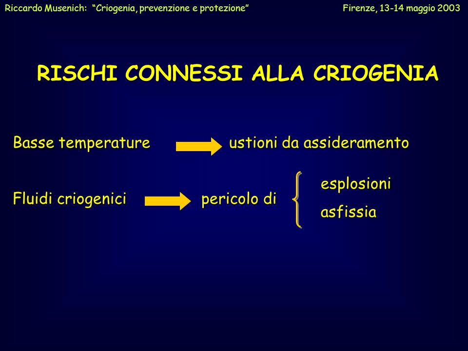 RISCHI CONNESSI ALLA CRIOGENIA Basse temperature ustioni da assideramento Fluidi criogenici pericolo di esplosioniasfissia Riccardo Musenich: Criogeni