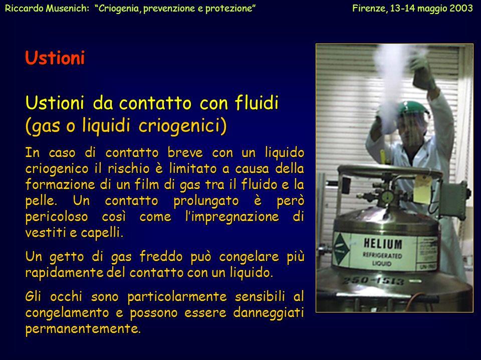 Ustioni Ustioni da contatto con fluidi (gas o liquidi criogenici) In caso di contatto breve con un liquido criogenico il rischio è limitato a causa de