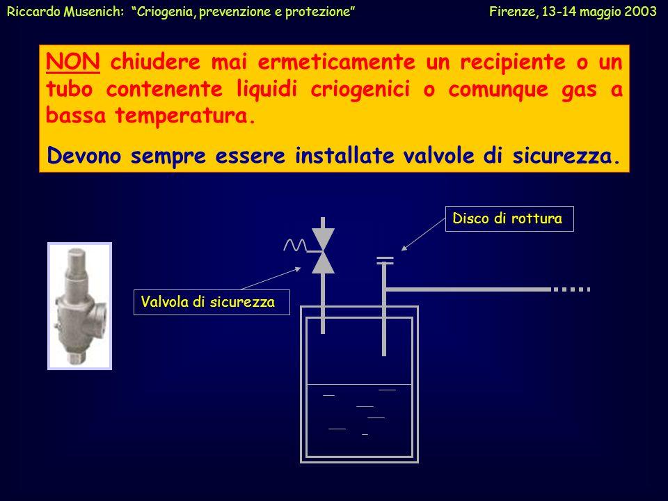 NON chiudere mai ermeticamente un recipiente o un tubo contenente liquidi criogenici o comunque gas a bassa temperatura. Devono sempre essere installa