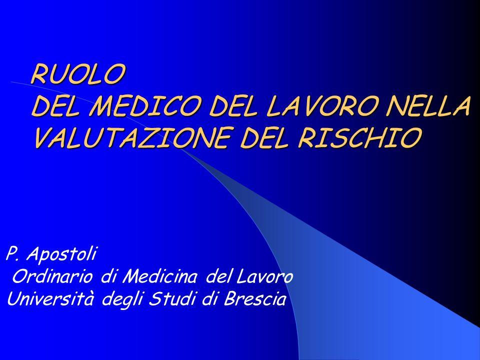 RUOLO DEL MEDICO DEL LAVORO NELLA VALUTAZIONE DEL RISCHIO P. Apostoli Ordinario di Medicina del Lavoro Università degli Studi di Brescia