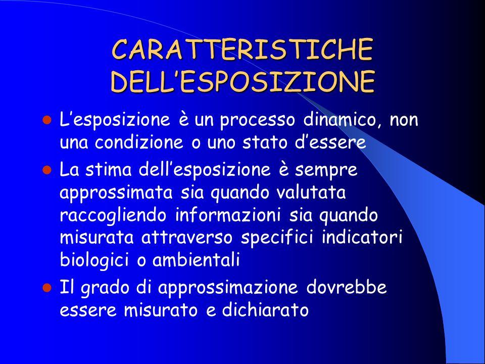 CARATTERISTICHE DELLESPOSIZIONE Lesposizione è un processo dinamico, non una condizione o uno stato dessere La stima dellesposizione è sempre approssi