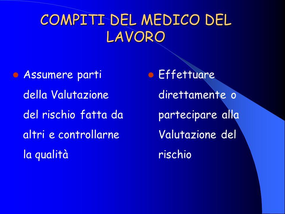COMPITI DEL MEDICO DEL LAVORO Assumere parti della Valutazione del rischio fatta da altri e controllarne la qualità Effettuare direttamente o partecip