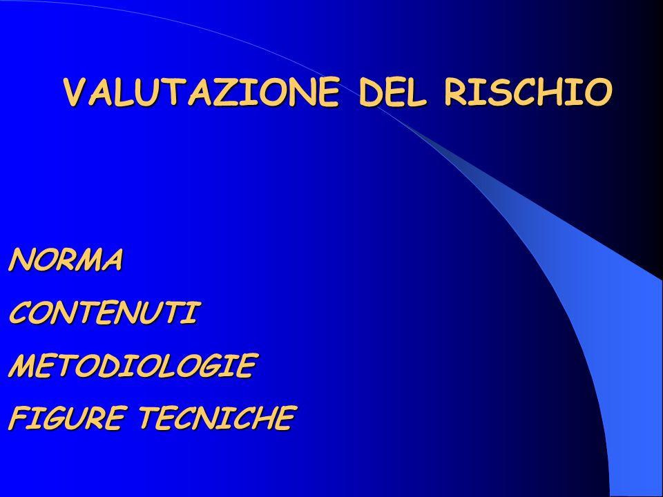VALUTAZIONE DEL RISCHIO VALUTAZIONE DEL RISCHIONORMACONTENUTIMETODIOLOGIE FIGURE TECNICHE