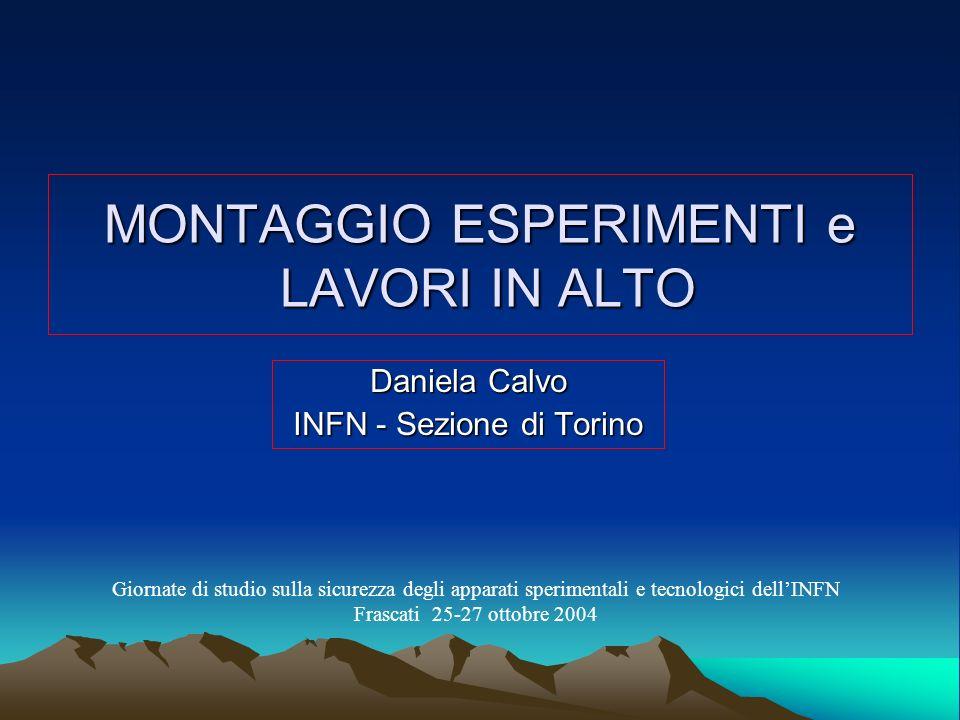 MONTAGGIO ESPERIMENTI e LAVORI IN ALTO Daniela Calvo INFN - Sezione di Torino Giornate di studio sulla sicurezza degli apparati sperimentali e tecnolo